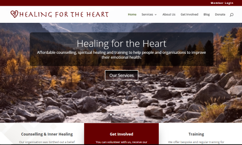 website portfolio - Healing for the Heart website